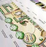 Hand rendered garden plan